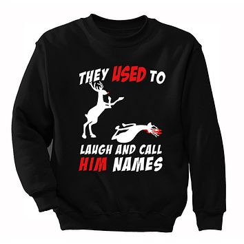 XtraFly Apparel Men's Reindeer Laugh And Call Him Names Ugly Christmas Pullover Crewneck-Sweatshirt