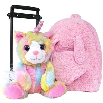 Roller Bag Kids Rolling Backpack Luggage with Removable Plush Stuffed Animal Unicorn Kitty Unicat