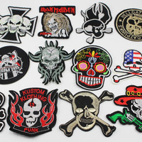 Mixed 6-11cm Assorted Iron-on or Sew-on Skull Embroidered patch Motif Applique Clothing accessories 12pcs lot 082007177