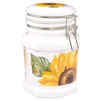 Spigarelli Designer Kitchen & Dining Sunflower Airtight Seal Ceramic Canister