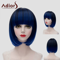 Trendy Short Full Bang Synthetic Bob Style Straight Black Blue Mixed Wig For Women
