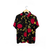 Button Up Floral Rose Shirt / Black Gold Red Flower All Over Print Shirt / Womens Size Large Unisex