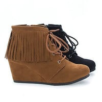 WigIIS Children's Girl Round Toe Lace Up Fringe Wedge Ankle Booties