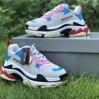 Balenciaga Triple S Trainers Grey/ Blue/ Pink Sneakers - Best Online Sale