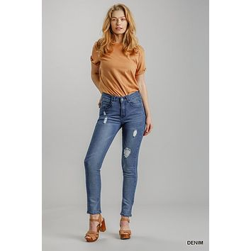 Umgee Extra Pocket Distressed Stretch High Rise Skinny Jeans