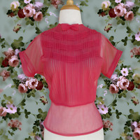 Vintage 1950s Blouse. 40s 50s Sheer Pink Red Pleated Blouse with a Small Bow