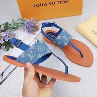 LV Shoes Louis Vuitton Slippers Crowbody Blue Pink Women Fashion Sandals