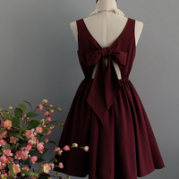 A Party V - Lolita Dress Sweet Lolita Backless Dress Maroon Dress Maroon Bridesmaid Dress Maroon Party Dress Summer Dress XS-XL