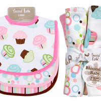Bouquet Set - Cupcake - Bib & Burp Cloth