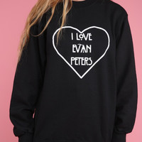 I Love Evan Peters Black Graphic Crewneck Sweatshirt