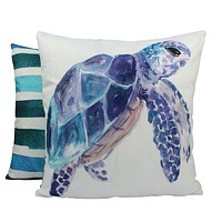 Sea Turtle | Pillow Cover | 18 x 18 | Under the Sea | Throw Pillow | Home Decor | Modern Coastal Decor | Pillow | Nautical Pillow Covers
