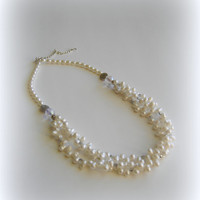 Bridesmaid necklace white freshwater pearls statement necklace White mom jewelry Classic wedding bridal bride beading mothers day gift