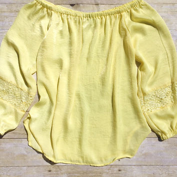Yellow Off-the-Shoulder Peasant Blouse