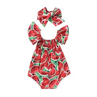 2017 Adorable Newborn Baby Girls Romper Watermelon Clothes Ruffled Jumpsuit +Headband 2PCS Outfits Sunsuit