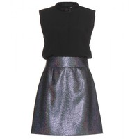 victoria, victoria beckham - crepe dress with woven metallic skirt