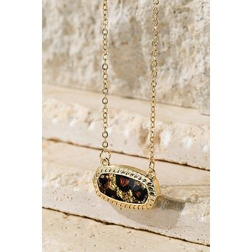 Shimmering Leopard Print Oval Charm Necklace