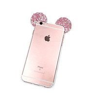 """iPhone 6S Case, MC Fashion Flexible Mickey Mouse 3D Bling Crystal Rhinestone Ears TPU Soft Shell Case for Apple iPhone 6S 4.7"""" (2015) & iPhone 6 4.7"""" (2014) (Bling-Multi)"""