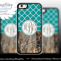 Monogram Iphone 5C case iPhone 5s  iPhone 4 case Ipod 4 5 Touch case Real Tree Camo Turquoise Quatrefoil Personalized Country Girl