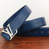 Inseva Louis Vuitton LV Fashion New Monogram Leather Women Men Leisure Belt Blue