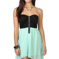 mint chiffon strapless high low dress with zipper front bodice - debshops.com