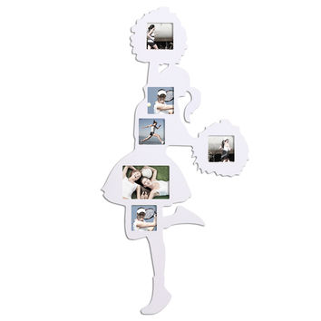 """Adeco Decorative White Cheerleader Wall Hanging Collage Picture Photo Frame, 6 Openings, 4x4"""", 5x7"""""""
