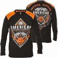 Licensed Official AMERICAN FIGHTER Mens LS T-Shirt GRAMBLING Biker REAL TREE CAMO Gym UFC $50