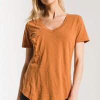 The Cotton Slub Pocket Tee- Warm Wood