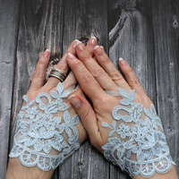 Victorian Laced Up Fingerless Gloves, Blue Wedding Gloves, Fusion Belly dance, Fingerless Gloves, Wedding Accessory