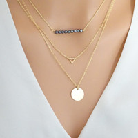 Simple Layered Necklace Set, 3 seperate necklaces, Hematite necklace, Gold triangle necklace, Disc Necklace, Personalized layered necklace