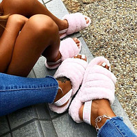 UGG Winter High Quality Classic Popular Women Casual Fluff Yeah Slippers Shoes Light Pink