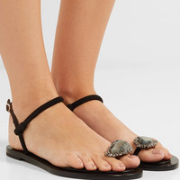 Alexander McQueen - Embellished suede and leather sandals
