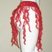 "Belly Dance Belt, Sequin Belly Dance Belt, Belly Dance Hip Scarf, Red Belly Dance Costume, Gypsy Dance Costume, ""Parlakli"""