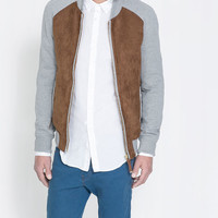 FAUX SUEDE COLLEGE JACKET