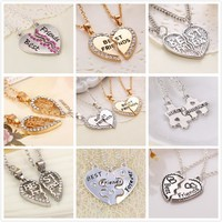 2015 New Best Friends Letter Heart Rhinestone 2 Parts Pendant Necklace for Friends