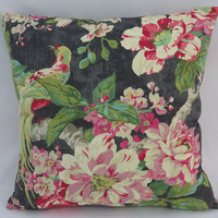 "Tropical Birds and Flowers Pillow, Waverly Floral Engagement in Nightfall, 17"" Cotton Square, Black Green Pink Fuchsia Turquoise"