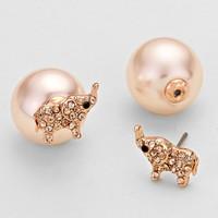 Rose Gold Double Sided Pearl Elephant Earrings