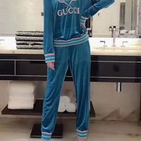 """""""Gucci"""" Woman's Leisure Fashion Personality Letter  Printing Spell Color  Long Sleeve Tops Trousers Two-Piece Set Casual Wear"""