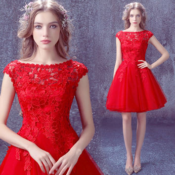 Free shipping 2016 New arrive Red Sex Lace short prom dresses Cheap Dress for graduation Fast shipping