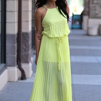 Pleated Halter Maxi Dress With Braided Straps (Sunny Yellow)