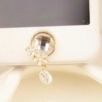 White Crystal Flower Home Button Stickers For Apple iPhone / iPod / iPad