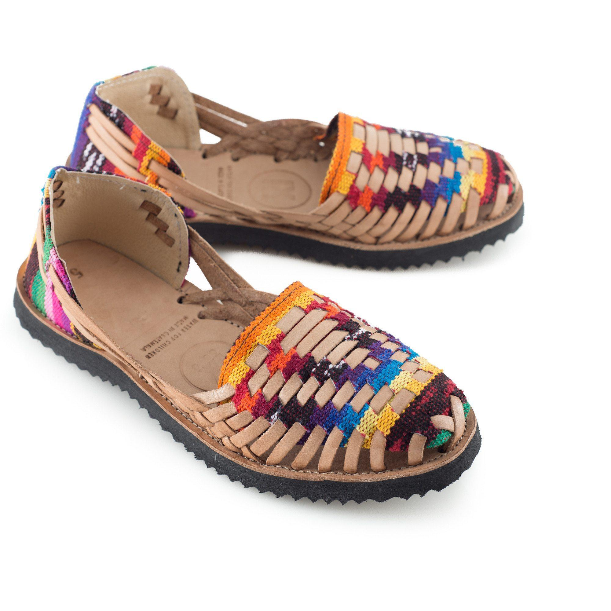 Image of Women's Traditional Mayan Woven Leather Huarache Sandals