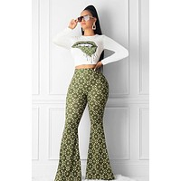 LV Louis Vuitton Fashion Women Long Sleeve Top High Waist Pants Set Two-Piece