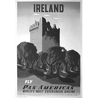 "Pan Am Airlines Ireland Poster Black and White Mini Poster 11""x17"""