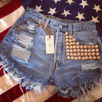 high waist destroyed denim shorts super frayed with lots of ROSE GOLD studs size Sm