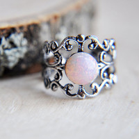 Fire Opal Ring, Opal Ring, Harlequin Opal Ring, Antique Silver Ring, Silver Opal Ring, Birthstone Jewelry, October Birthstone, Fire Opal