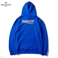Balenciaga 2018 autumn new back wavy hooded sweater Blue