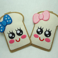 """iPhone Case - Cell Phone Case - iPhone 4 Case - iPod Case - iPod Touch Case - Handmade Felt Case - """" Cute Girly Toast"""" Design"""
