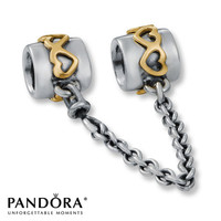Pandora Safety Chain Heart Accents Sterling Silver