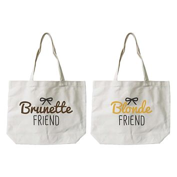 Women's Brunette and Blonde Best Friend Matching Natural Canvas Tote Bag