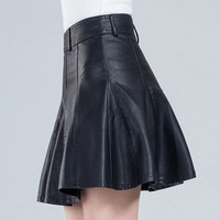 Plus Size Leather Skirt Women 4xl Winter Jupe Patineuse High Waist American Apparel Micro Suede Cuir Gothic Saias 03-126